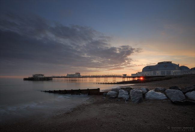 Sunset at Worthing beach, England