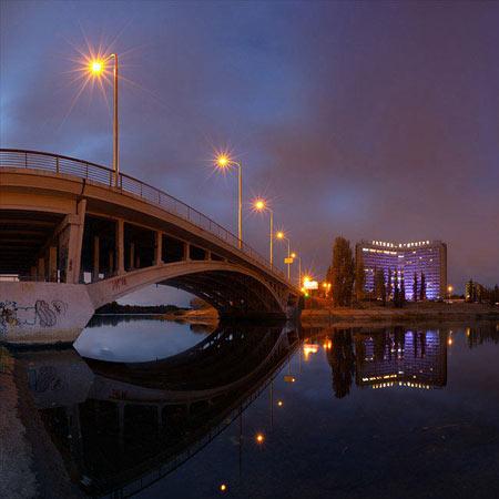Sunset at Rusanivka district in Kyiv, multirow panorama | Закат на Русановке, отель Славутич, Киев. Многорядная панорама