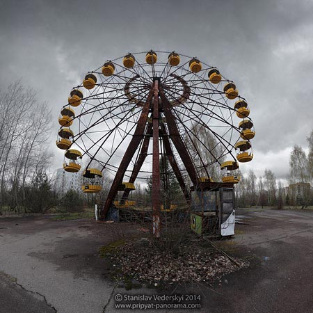 Panorama of Ferris wheel in attractions park of Pripyat ghost town in Chernobyl Exclusion zone